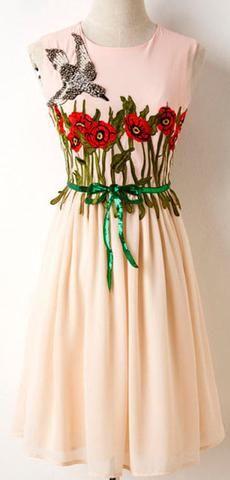 Rhinestone-Bird Floral Embroidered Sleeveless Dress-Pink