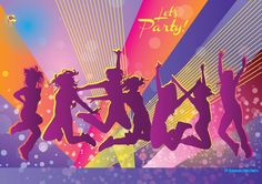 club,disco,discotheque,event,flyer,girls,invitation,jump,jumping,lights,party,poster,silhouettes,women