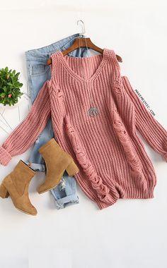 Pink V Neck Cold Shoulder Ripped Sweater Dress