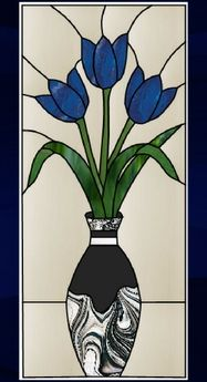 Stained glass tulips in a vase - AGlassMenagerie.net