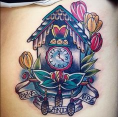 Beautiful work done by Misty Minor from Artistic Impressions in Welland Ontario Canada.❤️ My second tattoo I got in August.❤️ Dedicated to my Oma and Opa (great grandparents). It's on my left side just on the ribcage.  #tattoos #ink #colour #ribs #omaandopa #dutch #painful #worthit #tulips #cuckooclock