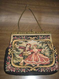 Vintage-Mid-Century-1960s-Tapestry-Handbag-Purse-Clutch