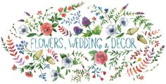 """""""Flowers, wedding and decor"""" watercolor artwork by Dara Muscat"""