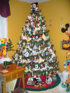 This Is My Disney Tree. It Is 7 Ft. Tall And Covered With 263 Disney  Character Ornaments. Of Course Mickey Mouse Is On The Top As Well As The Tree  Skirt.