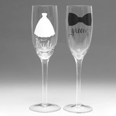 Bride & Groom Toasting Flute Set - #blackandwhitewedding #brideandgroomtoastingfluteset #weddingtoastingfluteset