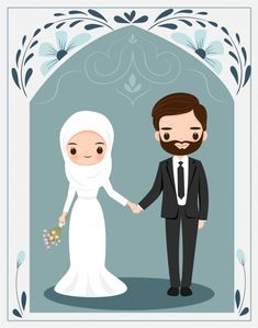 Cute Muslim Couple With Flower Frame For Wedding Invitation Card Bride And Groom Cartoon, Wedding Couple Cartoon, Wedding Card Quotes, Wedding Invitation Cards, Cute Illustration, Character Illustration, Black And White Cartoon, Islamic Cartoon, Cute Muslim Couples