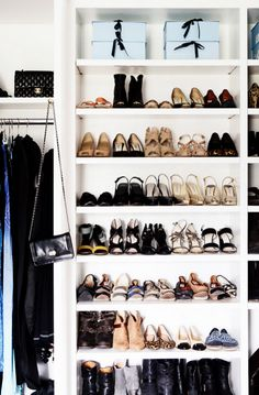 Use crisp white closet shelving to visually display & organize your fab shoe collection. Make sure the shelves are tall enough to store your favorite boots & booties.