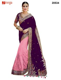 Magenta And Pink Colored Tussar Silk And Net Saree  #Fashion #Trending #Nice #Looking #Amazing #Popular #Offers #Collection #Deals #Trend #Zinngafashion