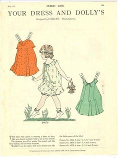 Child Life Magazine Paper Doll Your Dress & Dolly's May 1929