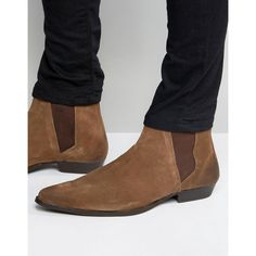 520f2e286a0 ASOS Pointed Chelsea Boots in Brown Suede (€37) ❤ liked on Polyvore  featuring