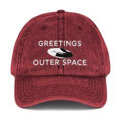 f47837a3704 Greetings UFO Maroon Dad Hat GreetingsOuterSpace.com  GreetingsOuterSpace   alien  hat