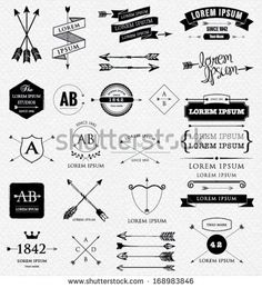 Design elements. Retro style. arrows, labels, ribbons, symbols such as logos. Editable vector illustration file.
