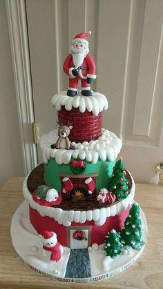 Christmas Tree Napkins, Christmas Candy, Christmas Desserts, Christmas Treats, Christmas Cake Designs, Christmas Cake Decorations, Christmas On A Budget, Christmas Cooking, Beautiful Cakes