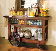 // Perfect mix for masculine and feminine bar cat - The Pretty Purveyor: Bar Carts Beverage Cart, Drink Cart, Drinks Trolley, Liquor Cart, Industrial Bar Cart, Rustic Industrial, Industrial Closet, Industrial Windows, Industrial Bookshelf