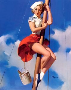 Sailor pin-up. Because THIS is what I look like when I climb the mast...