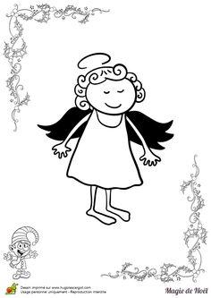 Un petit ange de noël très souriant à colorier