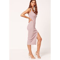 Missguided Pink Cross Strap Rib Midi Dress ($37) ❤ liked on Polyvore featuring dresses, mauve, mid calf dresses, calf length dresses, midi dress, mauve dress and pink midi dress