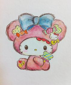 Such cute Hello Kitty art. Hello Kitty Drawing, Hello Kitty Art, Sanrio Hello Kitty, Hello Kitty Tattoos, Sanrio Wallpaper, Hello Kitty Wallpaper, Kawaii Doodles, Kawaii Art, Kawaii Drawings