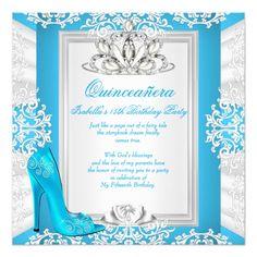 Shop Quinceanera Birthday Cinderella Blue Heel Invitation created by Zizzago. Cinderella Party Invitations, Quinceanera Invitations, Birthday Party Invitations, Cinderella Sweet 16, Cinderella Birthday, Cinderella Princess, Quinceanera Traditions, Quinceanera Ideas, 15th Birthday