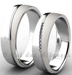 Alianças de prata com friso diagonal e Swarovski – Cód. 8585