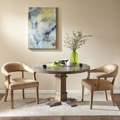 Madison Park Ansen Reclaimed Grey Round Table with Graham Base (46D x 30H-Reclaimed Grey)
