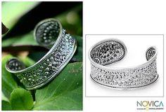 Sterling Silver Cuff Bracelet - Thai Bouquet | NOVICA