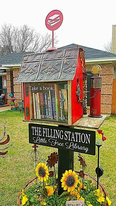 "Kim Johnson. Watauga, TX. My husband is a car fanatic. I am a bibliophile. We had been talking about a Little Free Library for awhile and then he decided it was going to be my Valentine's Day gift. He found a beautiful birdhouse and fixed it up so it is pretty from both sides. It's a ""Filling Station"" library and even has a tiny gas pump. We hope you will come exchange a book or two and fill up your reading list for a while!"