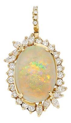 Estate Jewelry:Pendants and Lockets, Opal, Diamond, Gold Pendant. ... #opalsaustralia