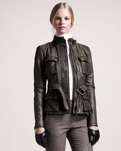 Triumph Waxed Leather Jacket by Belstaff at Neiman Marcus.