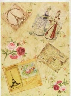 Rice Paper for Decoupage, Scrapbook Sheet, Craft Paper Vintage Paris