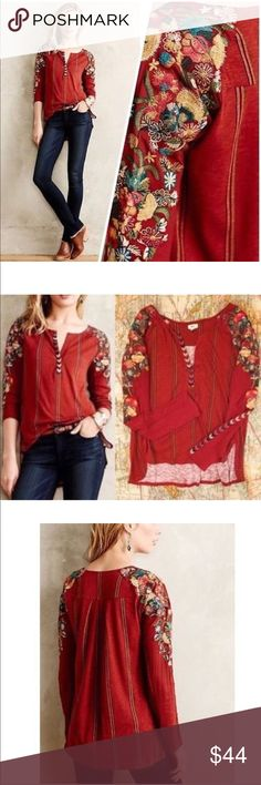 🌺Anthropologie TINY Embroidered Edelweiss Top 🌺 Anthropologie TINY Top. New Never worn Size LARGE. Floral Embroidered, 3/4 Sleeves,  and gorgeous punchy hue of colors!!  Sold out on site! Selling for half price!  Pullover styling Rayon, cotton Hand wash Imported Anthropologie Tops
