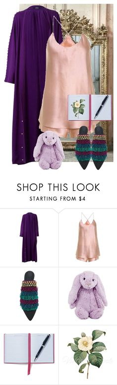 """Lazy Day"" by dundiddit ❤ liked on Polyvore featuring Olivia von Halle, Sanayi 313, Jellycat and Smythson"