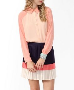 A woven shirt featuring monochromatic colorblocks and a traditional collar. #Forever21 #MustBuy