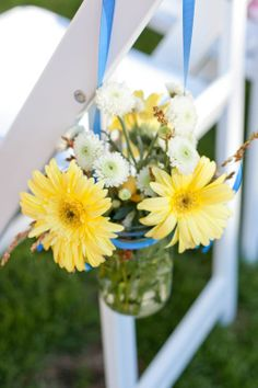 Aisle Flowers in Mason Jars :  wedding aisle blue ceremony daisy flowers gerber hanging flowers inspiration ivory mason jar ribbon white yellow Ashley And Jon Wedding 309 Of 957