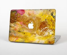 """The Grungy Golden Paint Skin Set for the Apple MacBook Pro 15"""" with Retina Display from Design Skinz"""