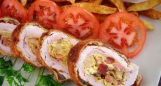 Húsvéti töltött pulykamell recept | APRÓSÉF.HU - receptek képekkel Hungarian Recipes, Clams, Meat Recipes, Baked Potato, Sushi, Food And Drink, Mexican, Dinner, Chicken