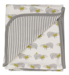 Badger Print Reversible Blanket by Pigeon Organic in organic double thickness jersey cotton. With this quirky badger print on one side and stripes on the other and a contrasting grey jersey binding to the edges. Pigeon, Blankets For Sale, Baby Prams, Organic Baby Clothes, Unisex Baby, New Baby Gifts, Badger, Baby Knitting, New Baby Products