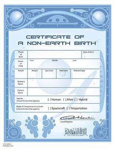 Alien birth certificate