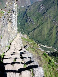 Walking down the stairs at Machu Picchu!!! Wayna Picchu Mountain , Stairs of Death (This is about halfway down this set of stairs)