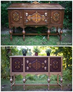 A Gold Painted Buffet – Tuesday's Treasures Furniture Styles, Furniture Projects, Refurbished Furniture, Painted Furniture, Hutch Ideas, Entry Tables, Gold Paint, Buffet, Upcycle