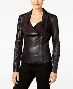 Calvin Klein Distressed Faux-Leather Moto Jacket