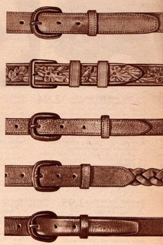 1940s men's belts. 1944- Belts had largely replaced suspenders as pants became more fitted at the waist. They were about an inch or so wide with small metal buckles that were often covered in matching leather. The leather was tan, brown or black and could be plain or pebbled, braided or stamped with a Western motif.
