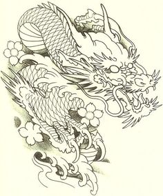 Dragon Tattoo Drawing, Dragon Head Tattoo, Dragon Sleeve Tattoos, Dragon Tattoo Designs, Dragon Tattoo Stencil, Japanese Dragon Tattoos, Japanese Tattoo Art, Japanese Tattoo Designs, Koi Dragon