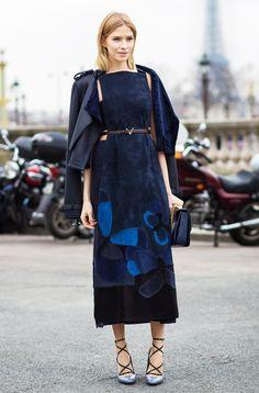 Blue dress, navy blue jacket, brown belt, black purse, and heels