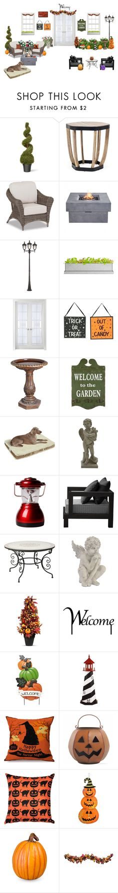 """Halloween night outdoor house"" by kaleighb28 on Polyvore featuring interior, interiors, interior design, home, home decor, interior decorating, National Tree Company, Ethimo, Thos. Baker and Zuo"
