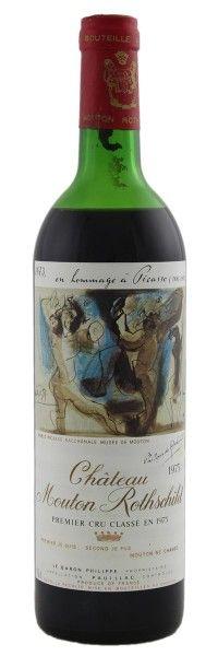 1973 Mouton-Rothschild (Picasso label). Type: Red Wine, Bordeaux Red Blends (Claret), Premier Cru (First Growth). Region: France, Bordeaux, Pauillac. 300$ (7.500 Kc)