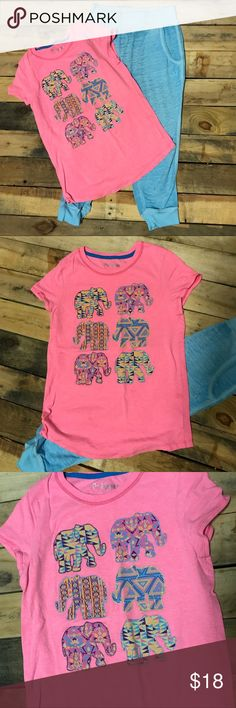 Girls Top Shirt & Capris Size 8/10 10/12 M L Really cute Hanes girls Top with elephants size L 10/12. The elephants are trimmed in glitter. Shirt length 22 inches. Across at the shoulders 12 1/2 inches. Across at the arm pits 15 inches. Turquoise Danskin Capris made in the joggers style size M 7/8. They ran big. They are made of a light weight knit fabric. Across at the waist 11 3/4 inches. Inseam length 19 inches. Rise 10 1/2 inches. My daughter wore this outfit when she was in 10/12…