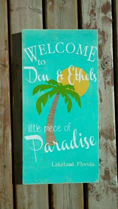 Welcome to our Paradise Sign Personalized beach by MamaSaysSigns