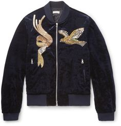 Dries Van Noten - Embroidered Velvet Bomber Jacket