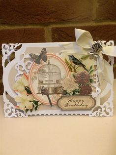 Shabby chic birdcage card | docrafts.com card made using Spellbinders enchanted labels dies and Hunkydory Antique Chic toppers